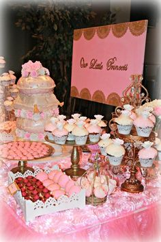 Pink and Gold Baby Shower dessert table! See more party ideas at CatchMyParty.com!