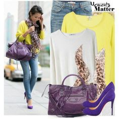 Purple, Yellow, Jean, White Leopard Outfit