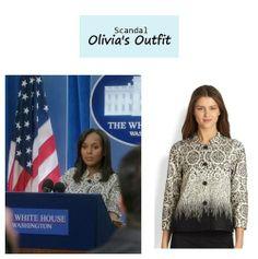 "On the blog: Olivia Pope's (Kerry Washington) jacquard jacket | Scandal - ""Kiss Kiss Bang Bang"" (Ep. 314) #tvstyle #tvfashion #outfits #fashion #gladiators"