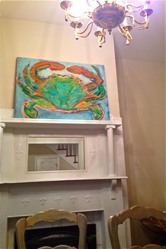 """This was the Crab paintings' first home. It was relocating to a home down in Midway:) I love when folks share their story with me about the """"special spot"""" they choose for their painting. Thanks John:)"""