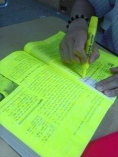 Too Much Highlighter  She underlines the important stuff with pen. This is how I study.