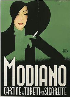 Poster by Franz Lenhart (1898-1992), 1935,  Modiano Cartine e Tubetti Sigarette,Trieste.(I)