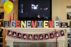Love the monthly birthday banner and the name on the mantle.