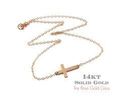 14K Rose gold Sideways Cross Necklac  Miley Cyrus by gemsinvogue