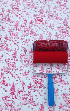 Patterned Paint Roller in Aspen Frost Design from NotWallpaper Moose and Nature
