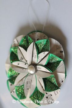Pretty upcycled paper ornament.