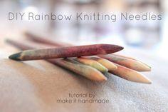 DIY rainbow knitting needles