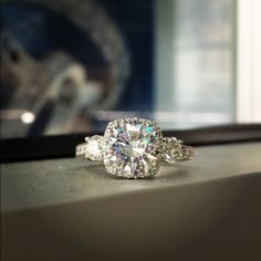 gorgeous amazing tacori diamond cushion cut triforce engagement ring -so pretty, so sparkly!