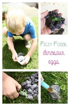 How to make your own Fizzing Fossil DInosaur Eggs - Digging Up Dinosaurs by Aliki based activity for kinder aged kids