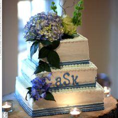Flowers - square wedding cake