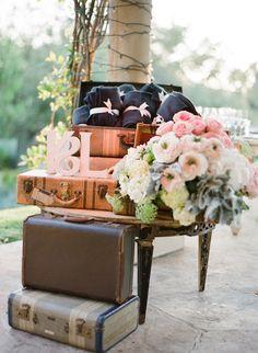 Vintage wedding favor display