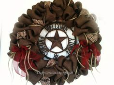 Wish I could figure out how to make this or be crafty enough. I love it!!!!!! Western Burlap wreath by CraftyCreationsByTB on Etsy, $80.00