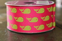 Whale Ribbon Preppy Pink and Green