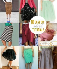 10 Easy + Cute Skirt Tutorials! Great for beginners at sewing! High waisted with now on right.