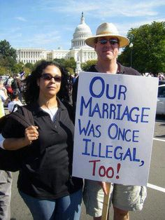 (W) I would love to see more inter-racial couples to post images like this... Not only to remind us that until 1967 they couldn't legally get married in many states, but also to help to educate their black relatives. The continuing Reuters/Ipsos online poll showed that only 30 percent of blacks thought same-sex marriage should be legal - 9 points lower than the national average. One-third of the blacks who were polled said they thought gay marriage should be illegal.    LIKE