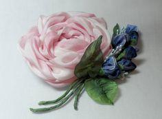Silk Ribbon Rose Pin Brooch by lambsandivydesigns on Etsy, $34.95