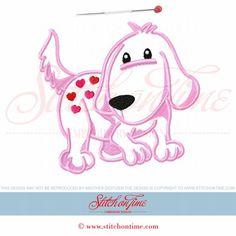 370 Valentine : Heart Dog Applique 5x7