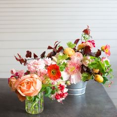Floral beaker and bucket by Kiana Underwood | Tulipina Flowers: peony, poppy, rose, geranium, plum, fuchsia, tulip, ranunculus