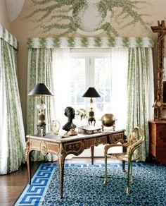 Diane von Furstenburg at home, such a pretty desk
