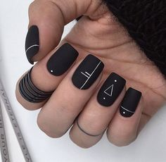 Trendy matte Black Nails Designs Inspirations; Black Nails; Matte Nails;