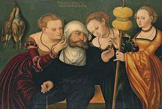 "Hércules vestido de respetable señora. Hans Cranach, ""Hércules en la corte de Onfale"" (1537), Museo Thyssen-Bornemisza, Madrid.  Del post: http://harteconhache.blogspot.com.es/2013/07/hercules-de-profesion-sus-labores.html"