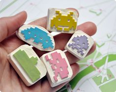Space invaders hand carved stamp set of 5. via Etsy.
