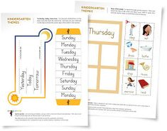 Free kindergarten worksheets and activity suggestions to help your child learn the days of the week.