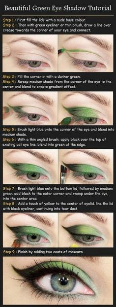 Big Eye Look with Big Eye Contact Lenses| Make up tutorial ideas.  Could use whatever color you choose (for those who don't like green eye makeup) wonder if this would work with purple