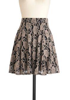 mid-length, grey floral on black background a-line skirt