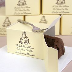 Personalized wedding cake slice favor boxes for sending guests home with some left over sweets. (Did you know that traditionally slices of British wedding fruitcake would be mailed all over the country and overseas as a token to guests who were unable to attend . If you didn't want to eat it you could sleep with it under your pillow and dream of your true love.)  #mwri #wedding #ideas