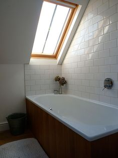 """Sneak Peek: Victoria Suffield and Phil Webb. """"This is our bathroom, up in the attic. We put the bath under the window so we could look out at the sky."""" #sneakpeek"""