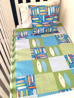 SURFBOARD Baby Boy Crib Quilt