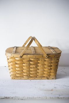 Vintage Woven Wood Picnic Basket