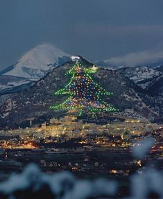 The world's largest christmas tree on the slopes of Mount Ingino, Gubbio, Italy