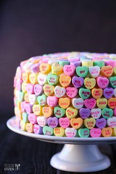 "Strawberries and Cream ""Heart"" Cake | gimmesomeoven.com valentine day, valentine cake, food, candies, strawberries, heart cake, candy cakes, convers heart, cream"
