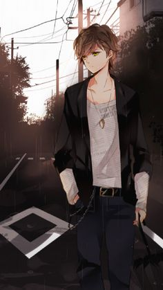 Anime- I think pippin might wear something like this if he was lost and did not know what he wanted to do to make his life fulfilling. character art, anim guy, anime guys, draw something, anime characters, cool anime guy, green eyes, anime art, anime boys