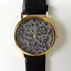 Vintage Lace Watch , Vintage Style Leather Watch, Women Watches,  Boyfriend Watch, Black Lace Print, Black