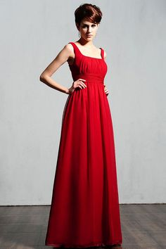 Square chiffon bridesmaid dress with empire waist