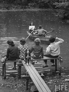 Young students during an outdoor class. Croton, New York, 1953.  By Yale Joel