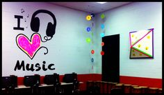 Classroom wall decal - made with a projector, contact paper, and acrylic paint. SO EASY!!!