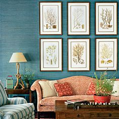 wall colors, lake houses, living rooms, botanical prints, blue walls, family rooms, paint colors, live room, blues