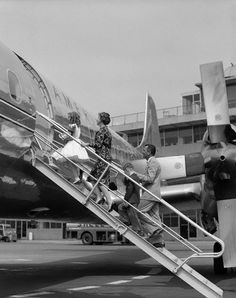 Boarding an American Airlines Electra.