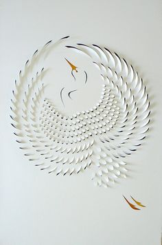 Lisa Rodden: Hand Cut Paper Works  Crane
