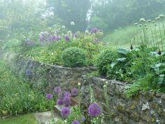 Garden in Dorset - flower beds & stone walls