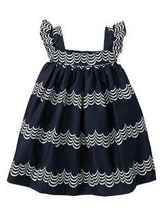 Wavy stripe flutter-sleeve dress   Gap