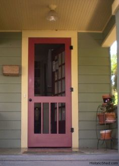 Craftsman/ Mission style wood screen door for a historic bungalow in St. Petersburg, Florida