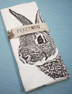 Fuzzy Mug Hand-Printed Flour Sack Tea Towels - pups, cats, bunnies + more $16