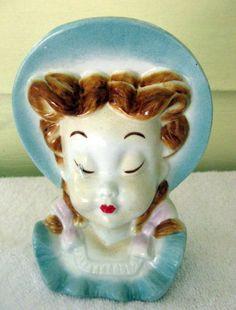 Vintage Royal Copley Head Vase Wall Pocket