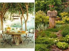 garden stumps, tree stumps, decor photo, backyard diy, budget backyard, saving pine trees, repurpos tree, design idea, treestump