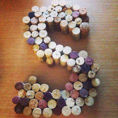 Letter wine cork wreath